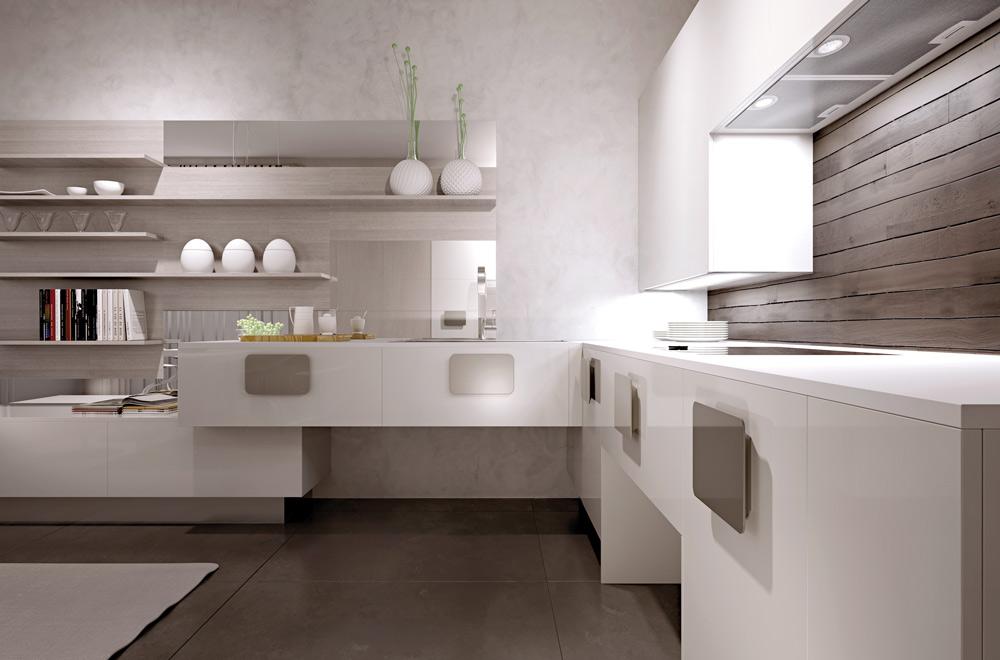 Cucine-bianche-lucide-contemporanee - Scic